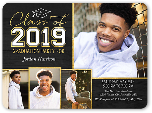 Simple Cap Collage Graduation Invitation, Rounded Corners