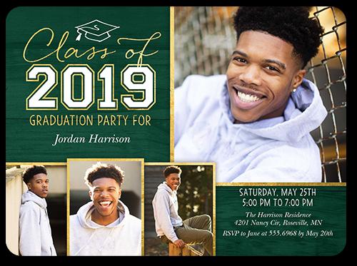 Simple Cap Collage Graduation Invitation, Rounded Corners