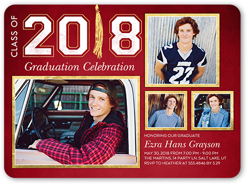 Phenomenal Grad Graduation Invitation, Rounded Corners