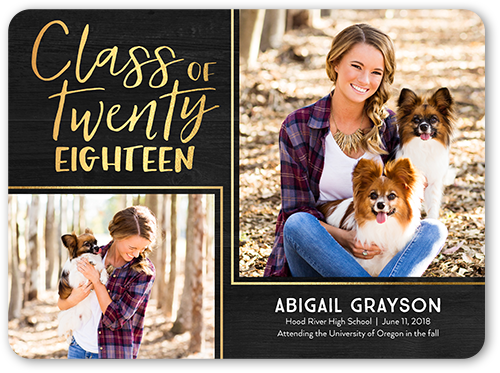 Basic Framed Class Graduation Announcement, Rounded Corners