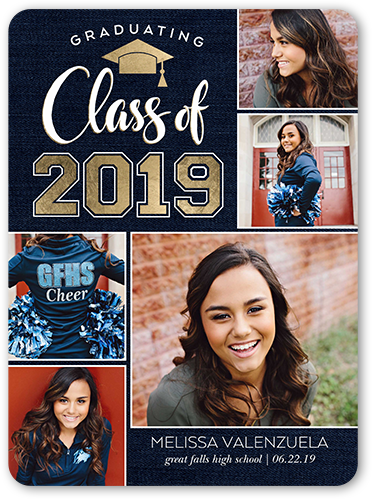 Shimmering Class Graduation Announcement, Rounded Corners
