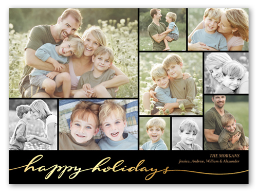 Golden Holiday Holiday Card, Square Corners