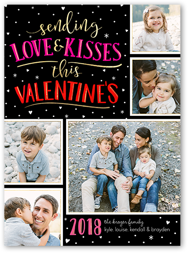 Snowfall Kisses Valentine's Card, Square Corners