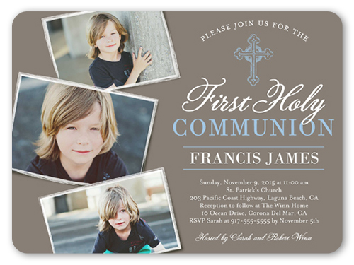 Communion Cross Boy Communion Invitation, Rounded Corners