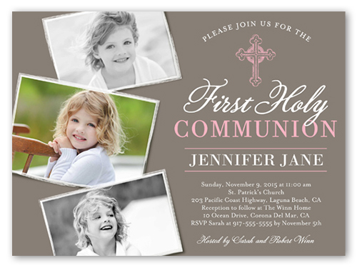 Communion Cross Girl Communion Invitation, Square Corners