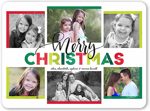 Merriest Hues Christmas Card, Rounded Corners