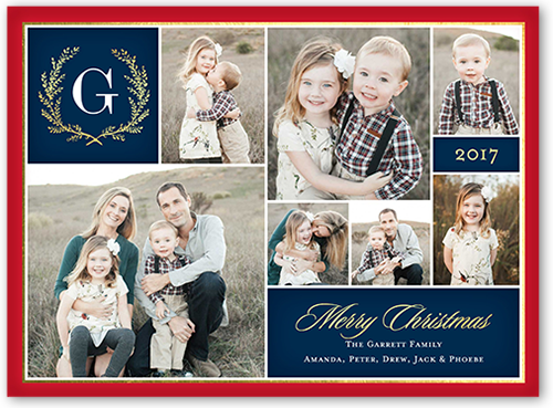 Merry Monogram Gallery Christmas Card, Square Corners