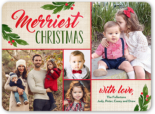 Merry Linen Foliage Christmas Card, Rounded Corners