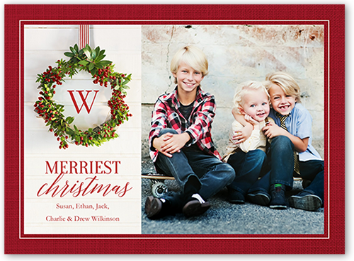 Simple Hanging Monogram Christmas Card, Square Corners