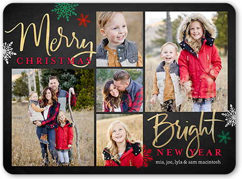 Rustic Merry And Bright Christmas Card, Rounded Corners
