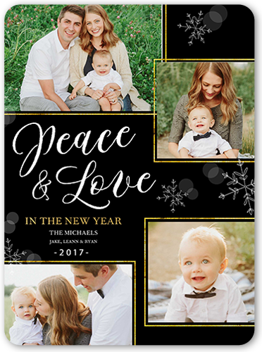 Bokeh Peace And Love New Year's Card
