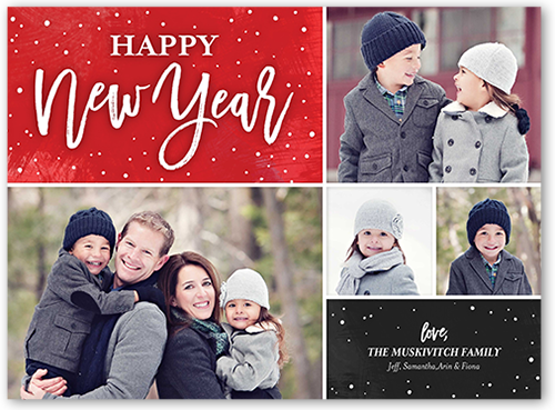 Sophisticated Flurries New Year's Card