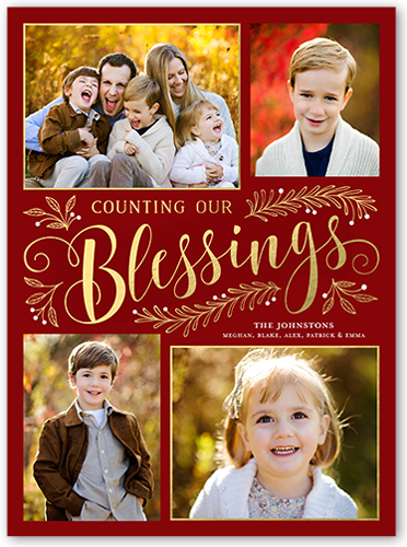 Sending Our Blessings Religious Christmas Card, Square Corners