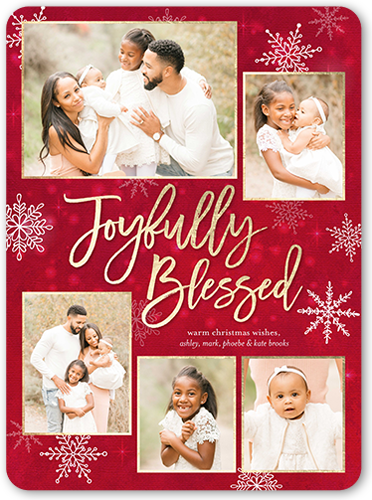 Joyfully Blessed Religious Christmas Card, Rounded Corners