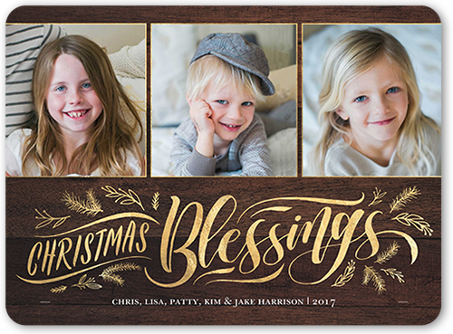 Swirled Blessings Religious Christmas Card, Rounded Corners