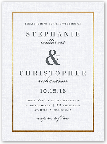 Simple Solid Frame Wedding Invitation, Square