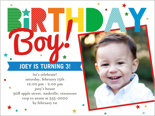 Birthday Stripes Boy 4x5 Invitation Card – Boy Birthday Cards