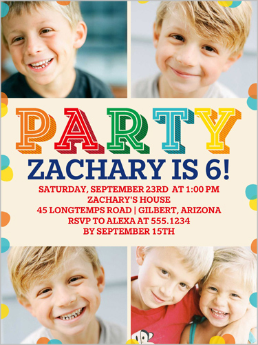 Party Colors Birthday Invitation