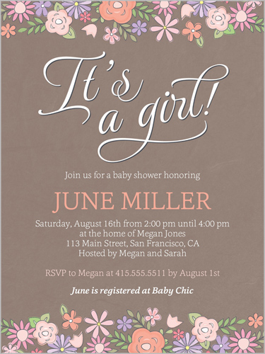 Darling Blooms Girl Baby Shower Invitation, Square