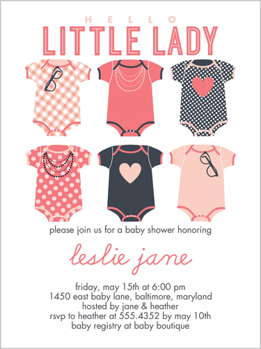 Hello Little Lady 4x5 Invitation Baby Shower Invitations