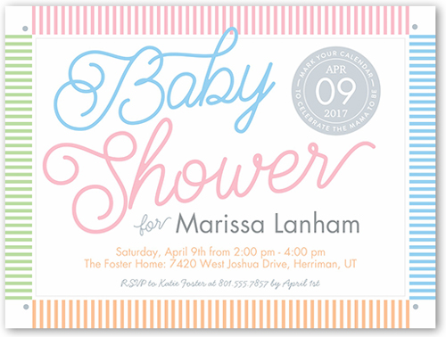 Colorful Stripes Shower Baby Shower Invitation, Square