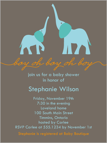 elefun baby boy baby shower invitation