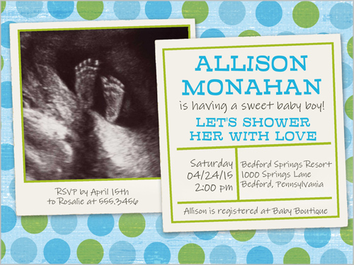 Shower Of Dots Boy 4x5 Invitation Baby Shower Invitations