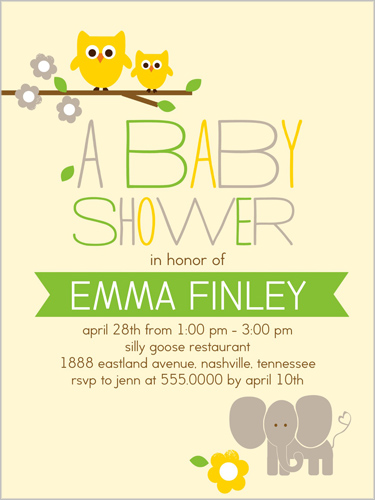 whimsical wildlife x greeting card  baby shower invitations, Baby shower
