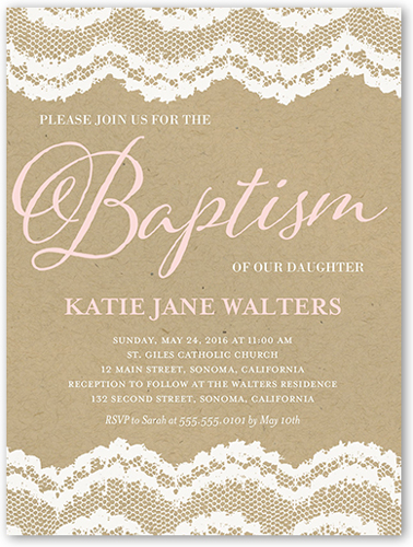 Laced Border Baptism Invitation, Square