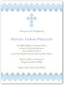 filigree cross blue baptism invitation 4x5 flat