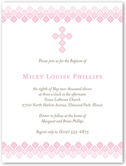 filigree cross rose baptism invitation 4x5 flat