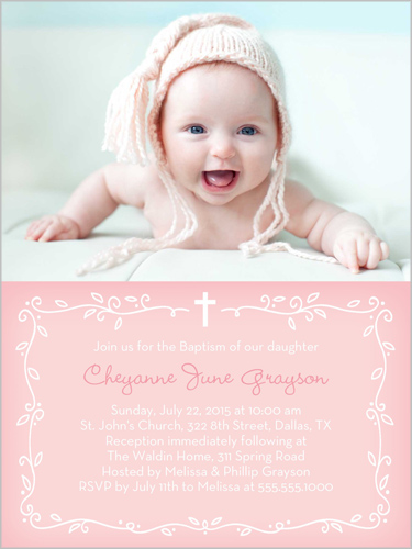 Precious Vine Girl Baptism Invitation by Stacy Claire Boyd