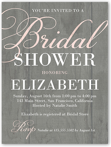 Rustic Shower Bridal Invitation