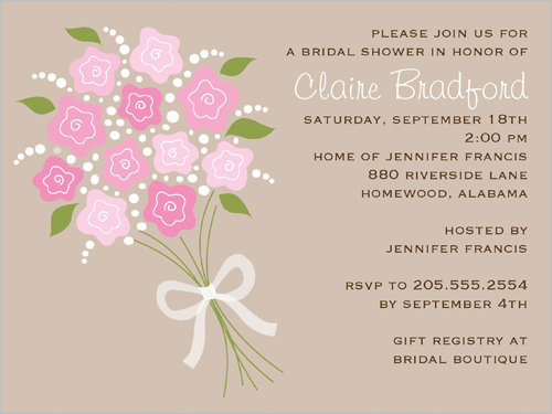 Bridal Bouquet Cream Bridal Shower Invitation, Square