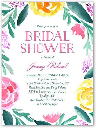 Brushed Flowers Bridal Shower Invitation, Square