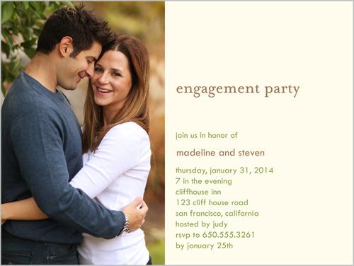 VignetteSolo Cream Engagement Party Invitation, Square