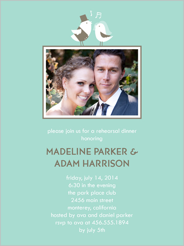 Lovebirds Tune Rehearsal Dinner Invitation