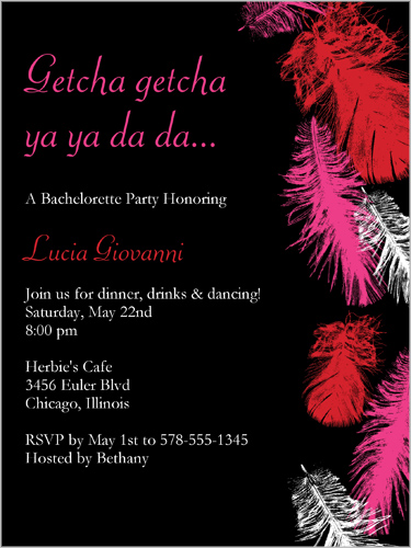 Boa Feathers Black Bachelorette Party Invitation