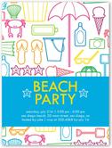 beach party fun summer invitation 4x5 flat