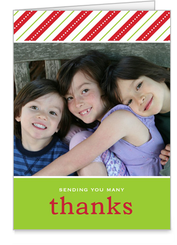 Merry Berry Stripes Holiday Thank You Card