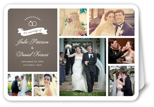 Wedding Rings Collage 5x7 Folded Wedding Announcement