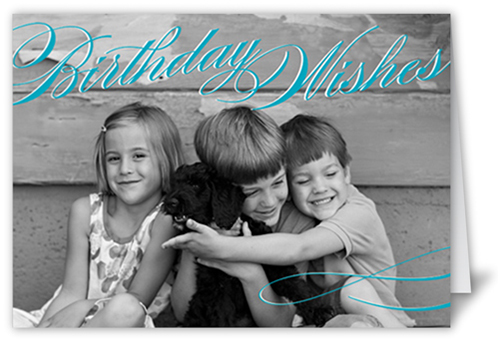 Vintage Wishes Teal Birthday Greeting Cards