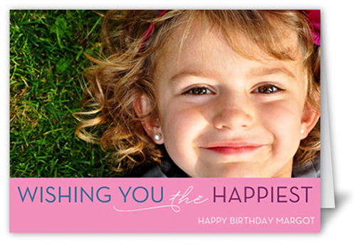 Think Pink Birthday Card, Square Corners
