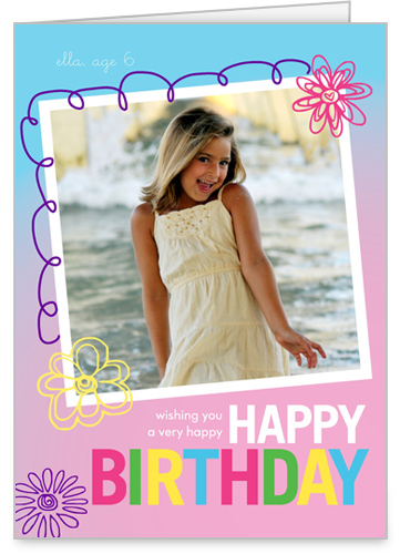 Happy Flowering Doodles Birthday Card, Rounded Corners