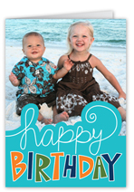 happy sign blue birthday card