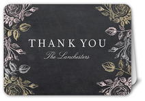 chalkboard blooms thank you card