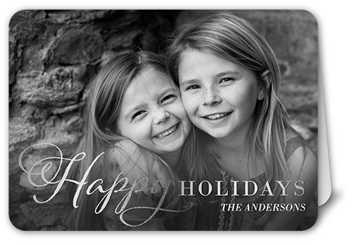 Shining Happy Holiday Card, Rounded Corners