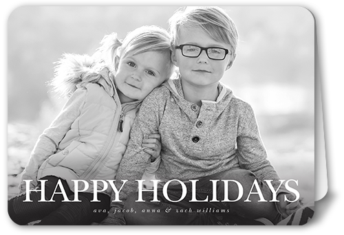 Simple Happy Sentiment Holiday Card, Rounded Corners