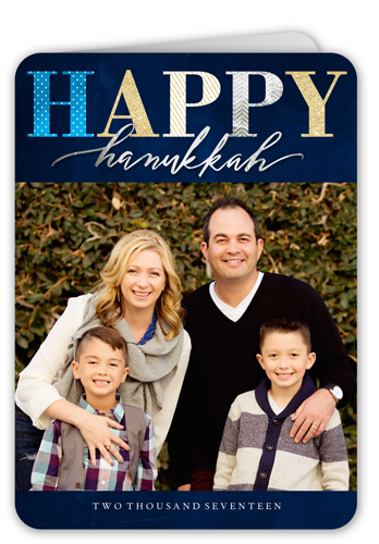 Elegantly Festive Hanukkah Card, Rounded Corners