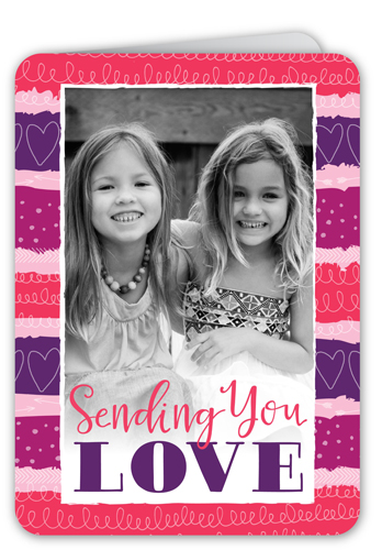 Striped With Hearts Valentine's Card, Rounded Corners